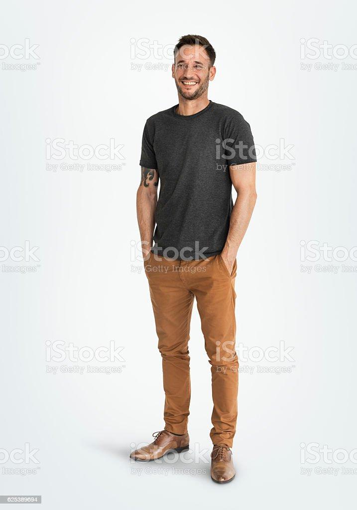 Man Smiling Happiness Carefree Emotional Expression Concept foto de stock libre de derechos
