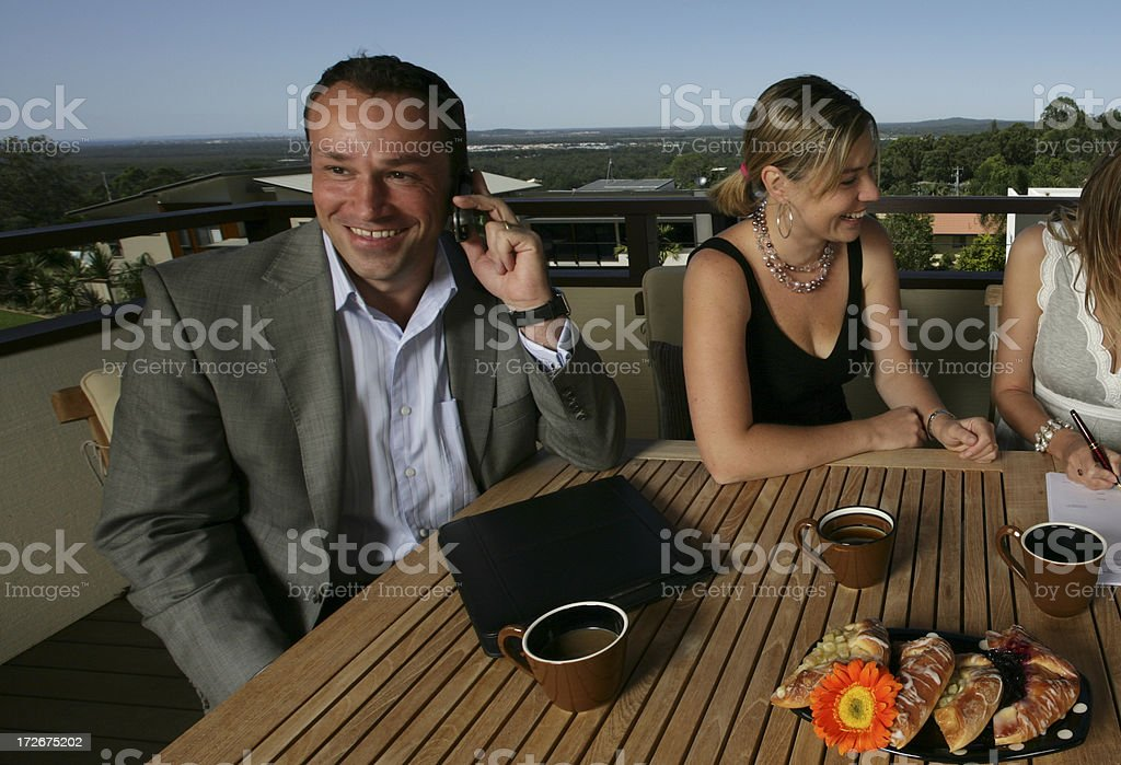 Man Smiling On Phone royalty-free stock photo