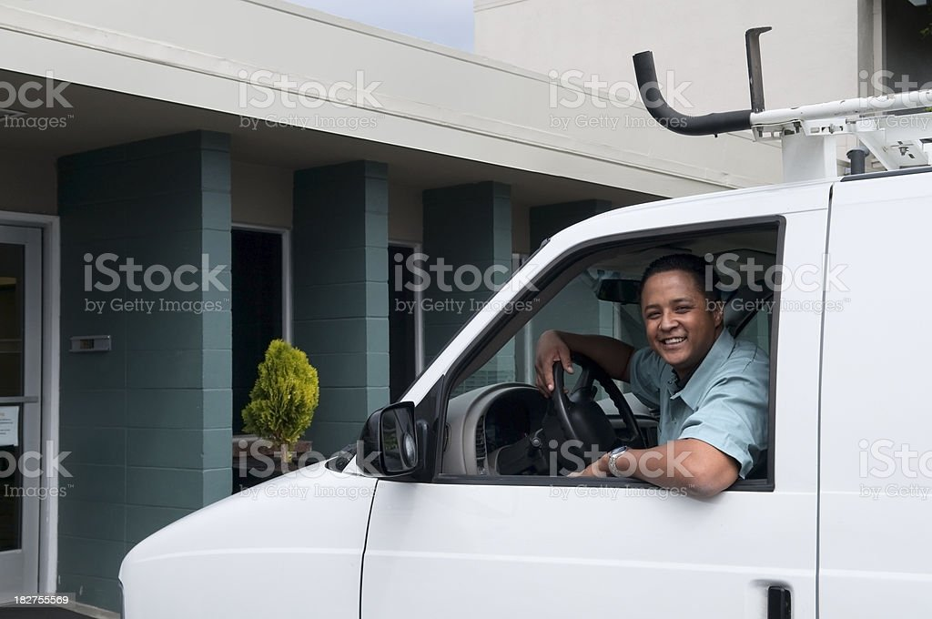 Man Smiling Out Window of His Van royalty-free stock photo
