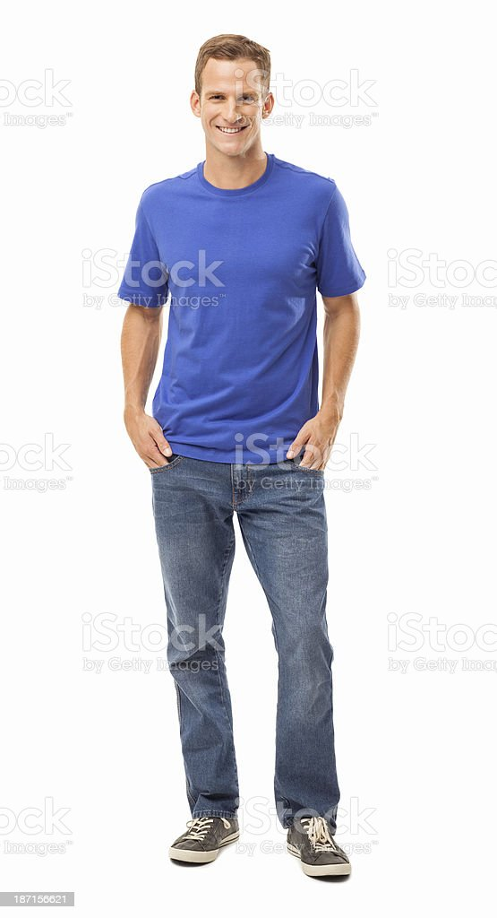 Man Smiling With Hands In Pockets - Isolated stock photo
