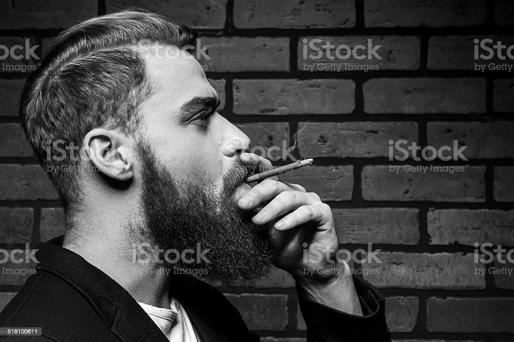 Man smoking. stock photo