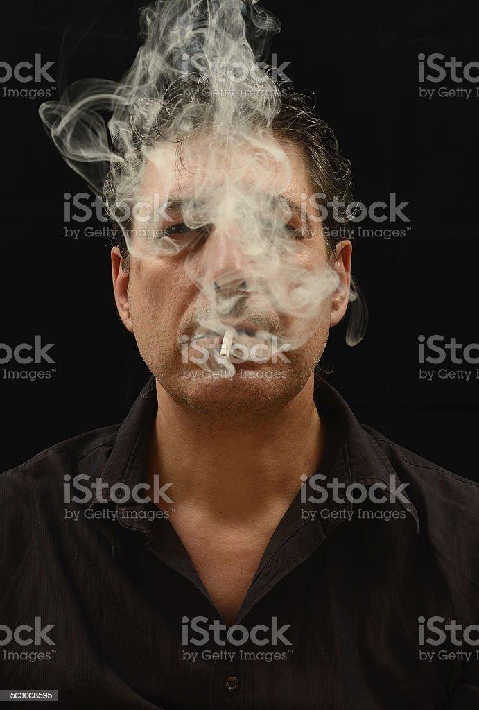 Man Smoking Portrait royalty-free stock photo