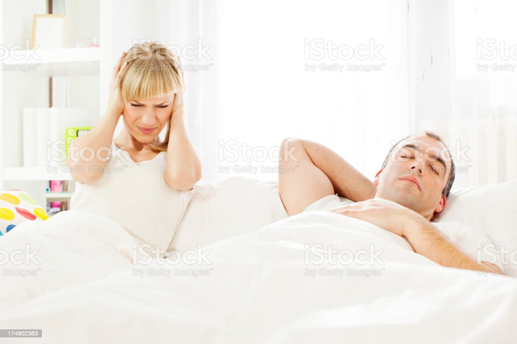 Man Snoring in Bed. royalty-free stock photo