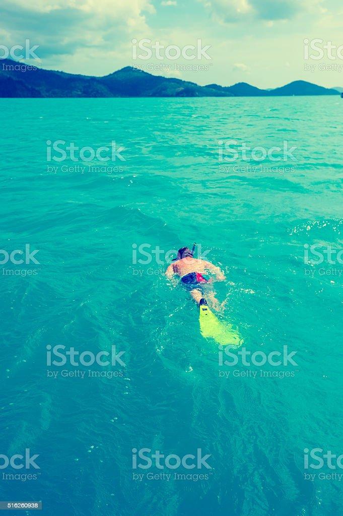 Man snorkelling. stock photo