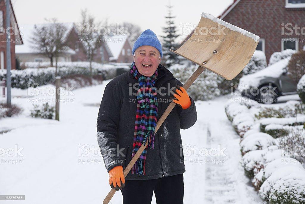 man snow stock photo