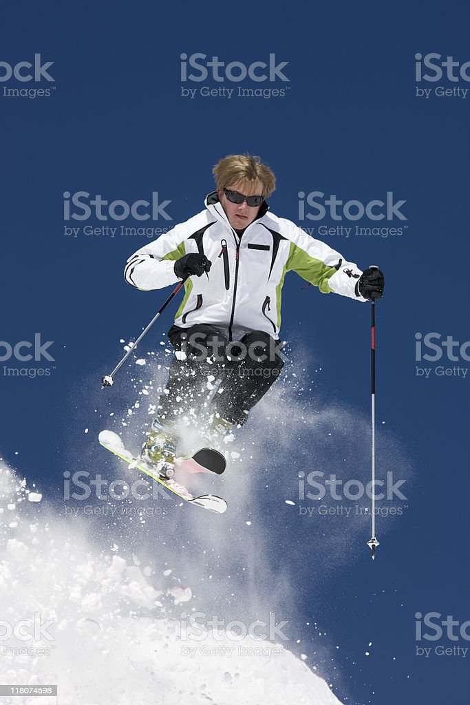 Man Snow Skiing in Colorado royalty-free stock photo
