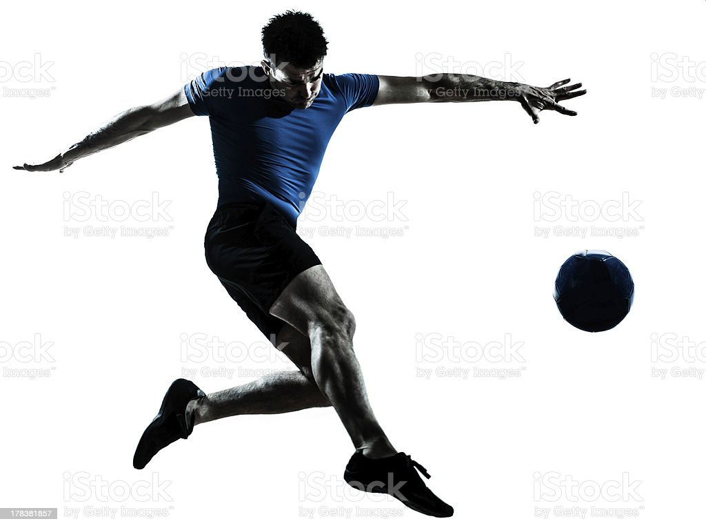 man soccer football player flying kicking royalty-free stock photo