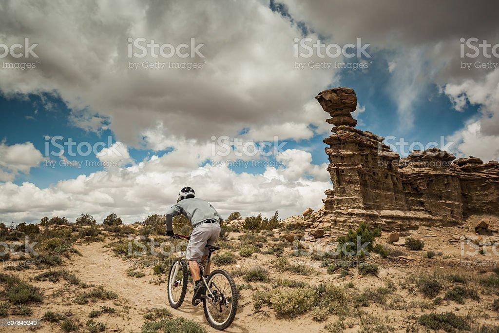 man solitude adventure landscape stock photo