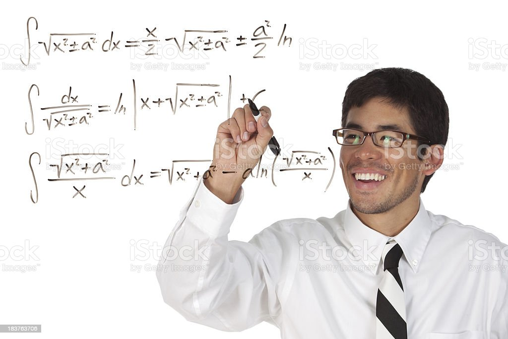Man solving an algebra equation royalty-free stock photo