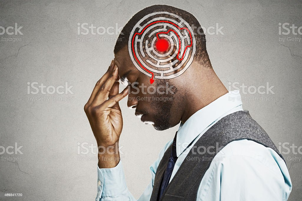 Man solving problem thinking stock photo