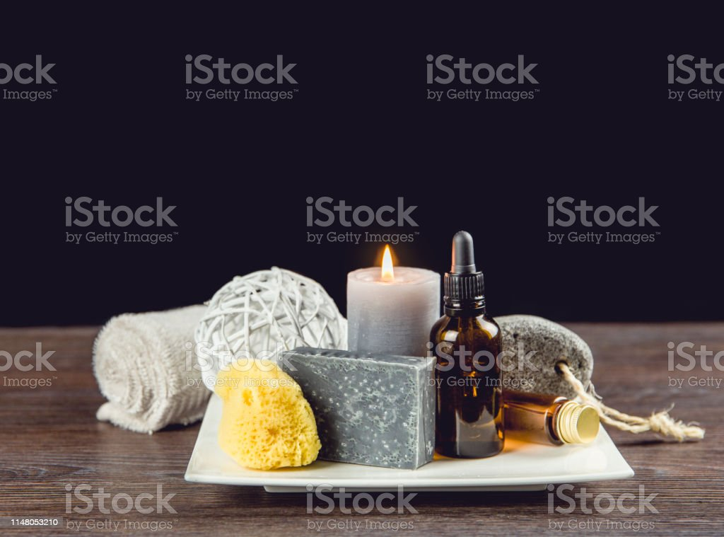 Man spa relaxation concept. Different day spa products on white...