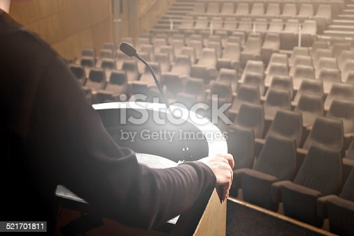 491577806 istock photo Man speaker testing its speech 521701811