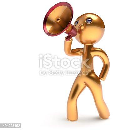 1007383644istockphoto Man speaking megaphone character making announcement 494558152