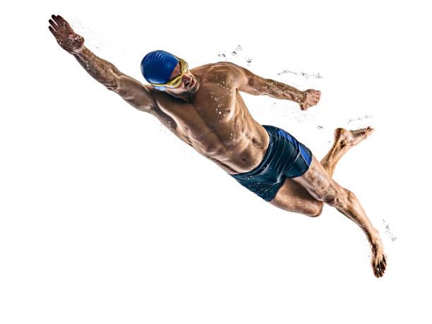 hombre deporte nadador aislado fondo blanco - natación fotografías e imágenes de stock