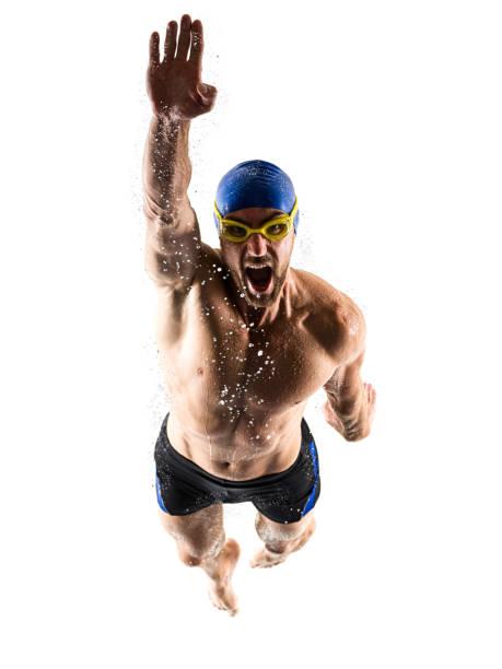Mann SportSchwimmer schwimmen isoliert weißen Hintergrund – Foto