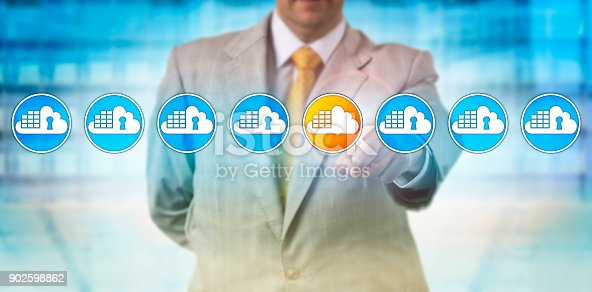istock Man Spotting Vulnerable Cloud Container In Lineup 902598862