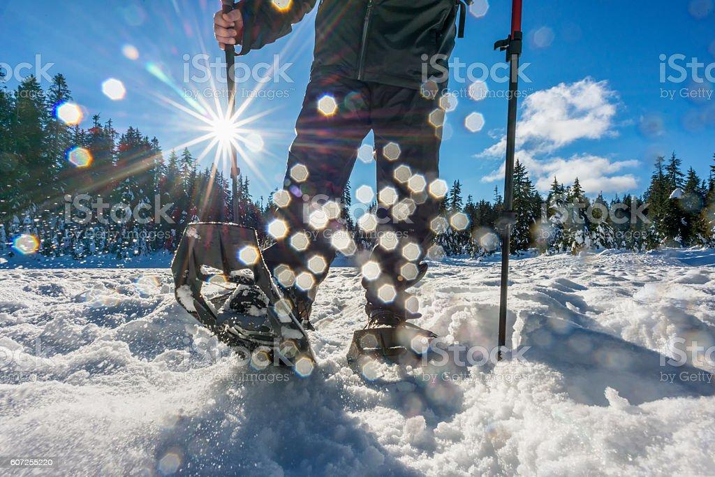 Man Spraying Snow While Backcountry Snowshoeing Across Frozen Lake, Canada stock photo
