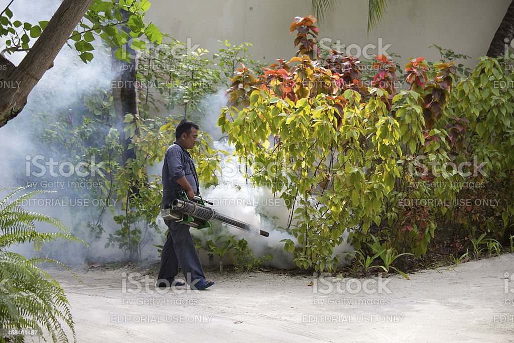 Man Sprays Mosquito Treatment at Resort stock photo