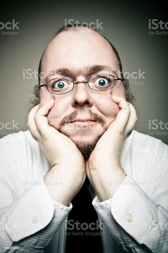 Man Squishing Face royalty-free stock photo