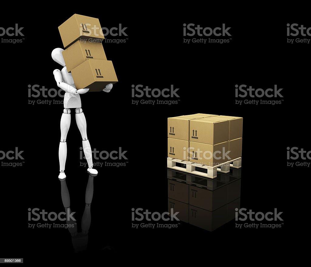 Uomo di impilamento scatole foto stock royalty-free