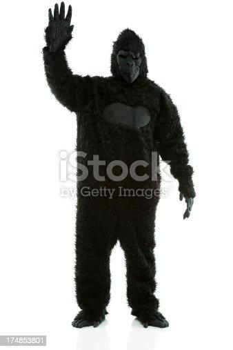 istock Man stading in gorilla costume waving his hand 174853801