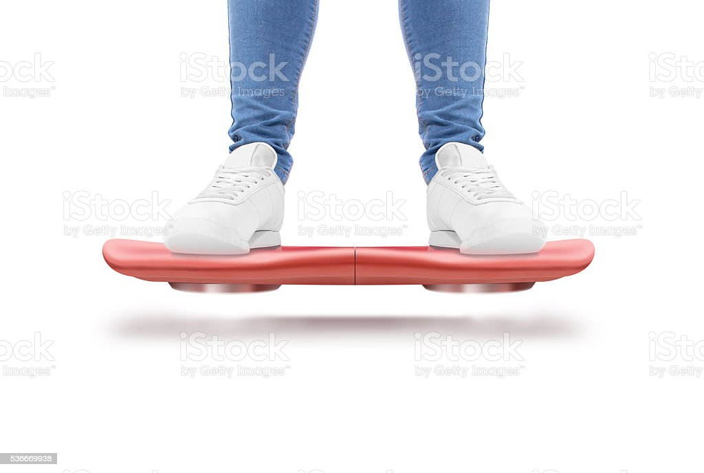 Man stand red hover board scooter isolated. stock photo