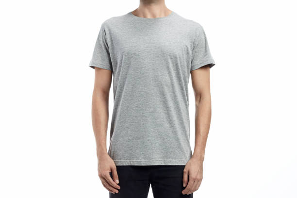 man standard tshirt mockup heather grey man standard tshirt mockup with flat white background heather stock pictures, royalty-free photos & images