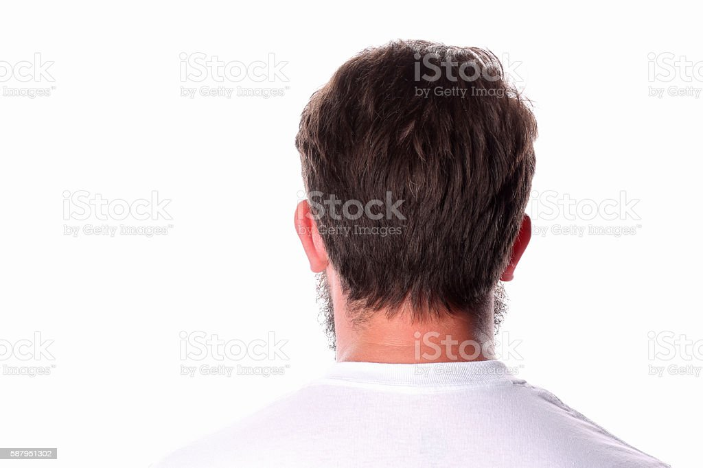 Man standing back in a white T-shirt. Close up. stock photo