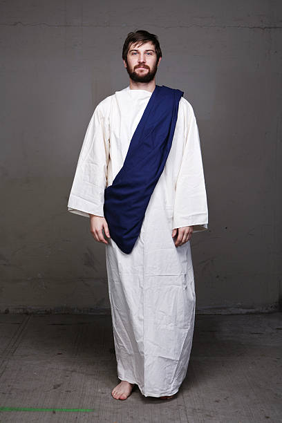 Man Standing in Bible Character Clothing stock photo