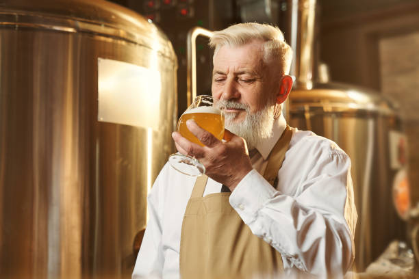 Man standing in brewery and tasting light beer Front view of elder man in white shirt and apron standing in brewery and tasting beer. Man keeping glass and drinking delicious light alcohol. Concept of quality and production. old man working in a pub stock pictures, royalty-free photos & images