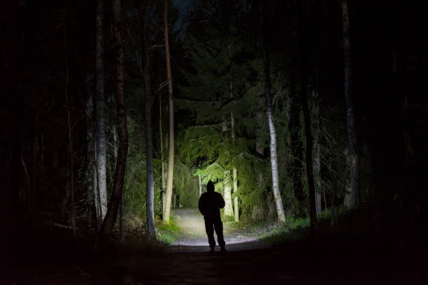 Man standing in dark forest at night with flashlight and hoodie on head stock photo