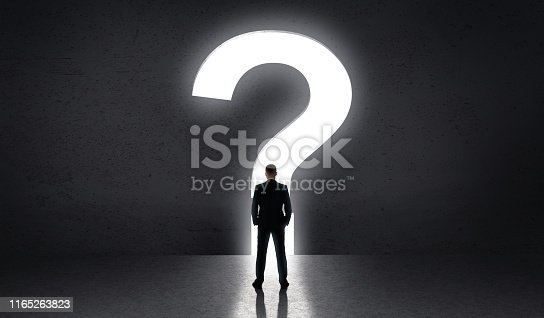82186105 istock photo Man standing in front of big question of life 1165263823
