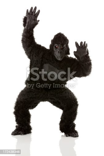 istock Man standing in gorilla costume 172438346
