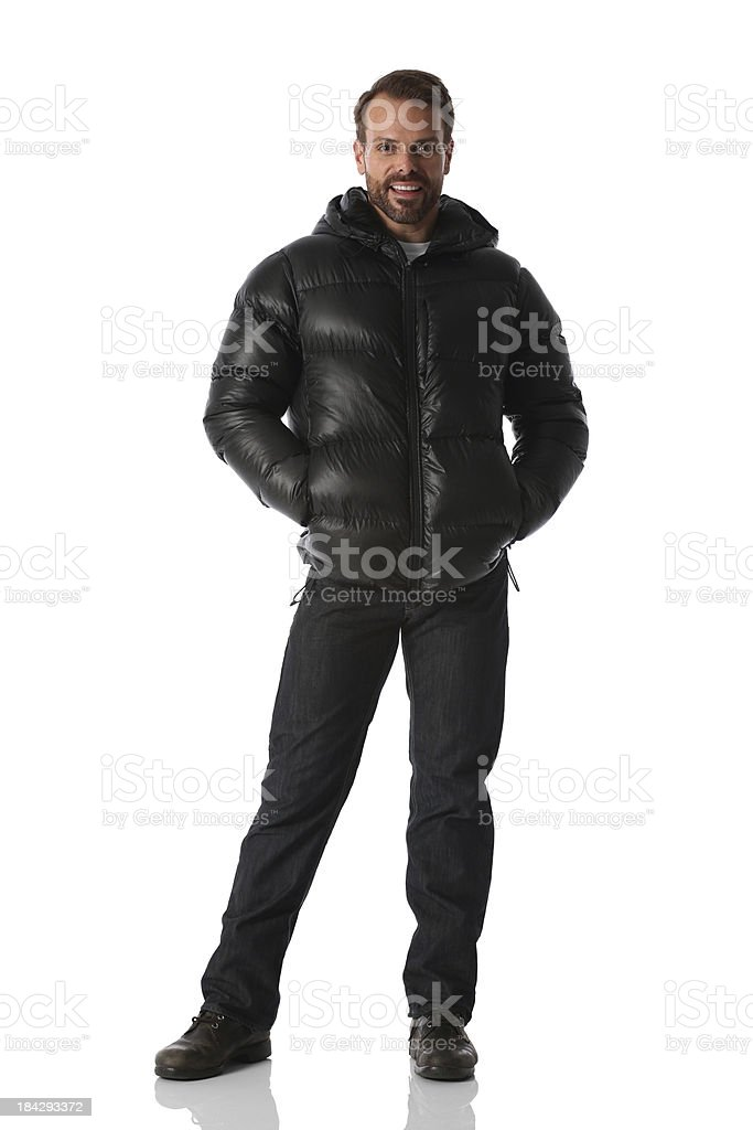 Man standing in jacket royalty-free stock photo