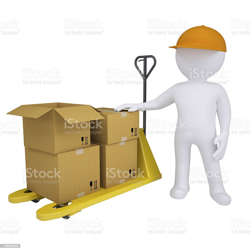 3D man standing next to a pallet truck royalty-free stock photo