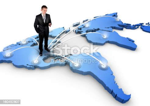 610119450 istock photo Man standing on a 3d world map 160452807