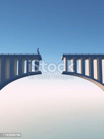 Man standing on a broken bridge . This is a 3d render illustration.