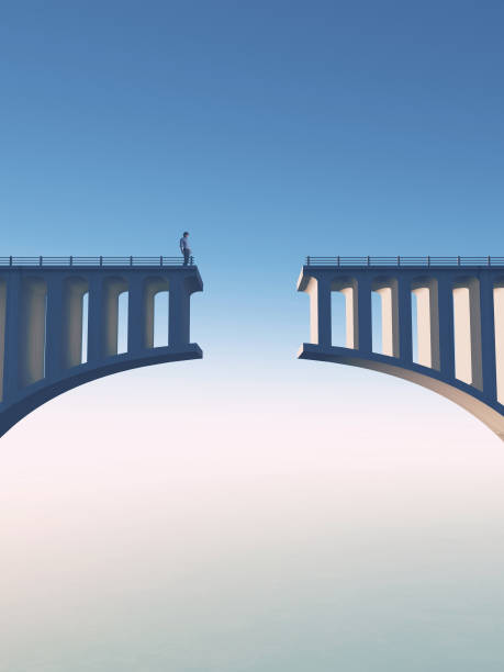 Man standing on a broken bridge . This is a 3d render illustration. stock photo