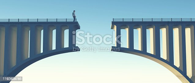 Man standing on a broken bridge . This is a 3d render illustration.