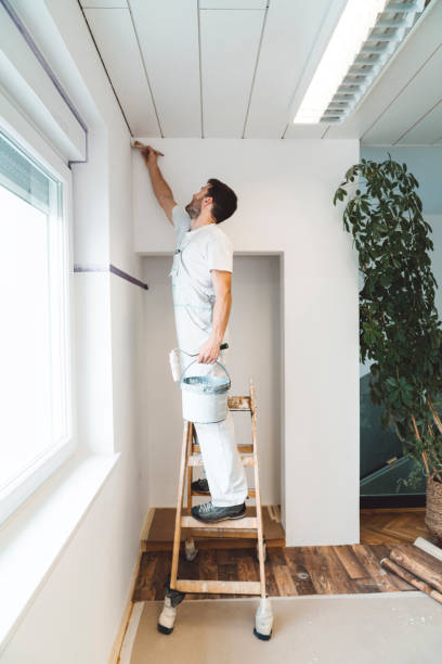 Man standing on a ladder painting the edges with a painters brush stock photo