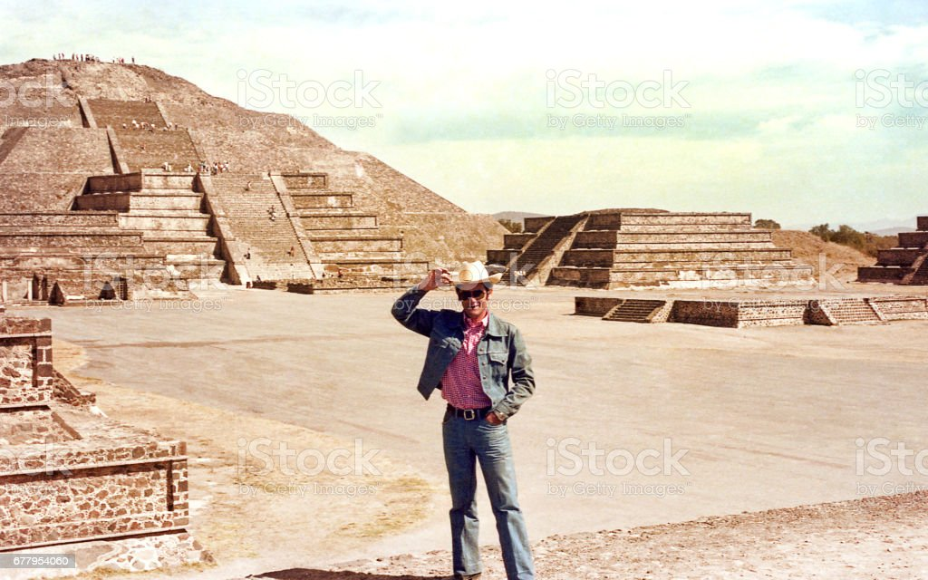 A man standing on a mexican arqueological site stock photo