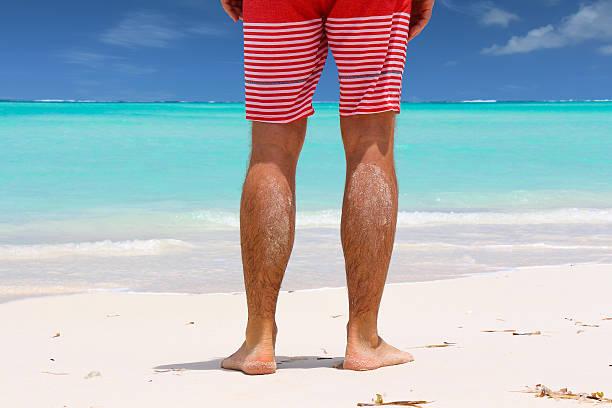 Man standing on Beach stock photo
