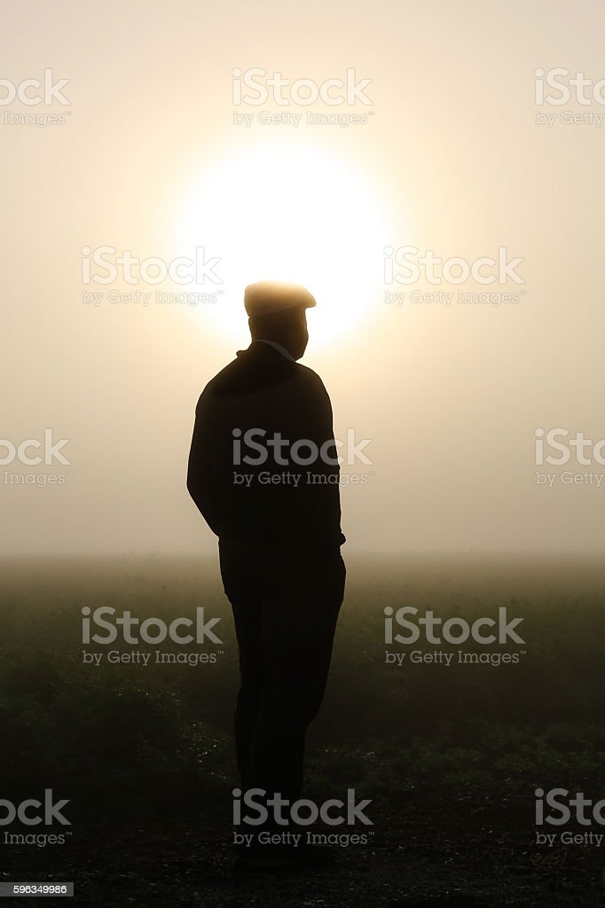 man standing on farm Lizenzfreies stock-foto
