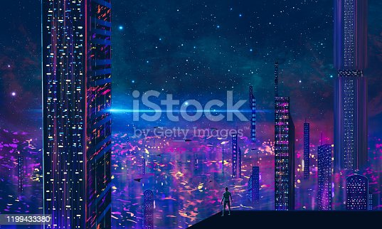 istock Man standing on roof and look to abstract modern sci-fi colorful city with night sky and stars. 3D illustration 1199433380