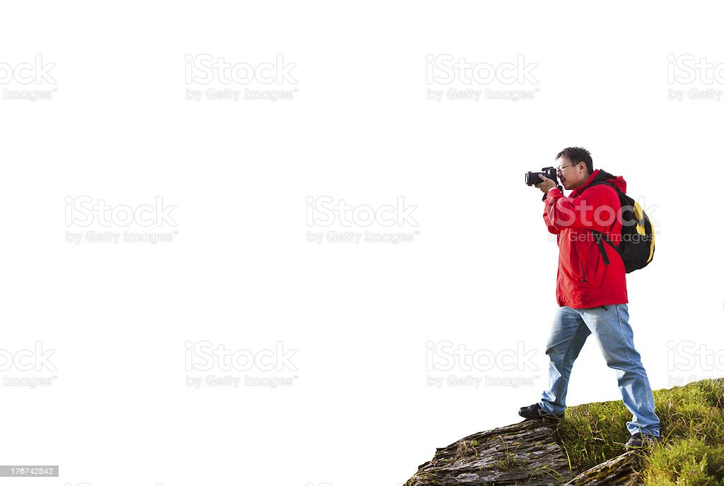 man standing on the  mountain royalty-free stock photo