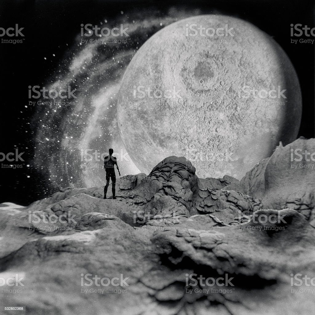 Man standing on the planet, Moon stock photo