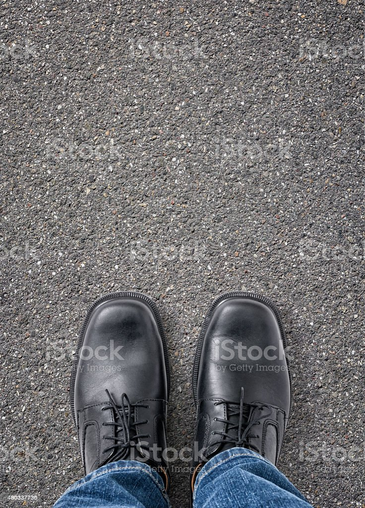 Man standing on the street with copy space stock photo