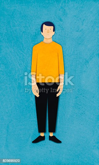 istock Man standing, paper cutting style 825695520