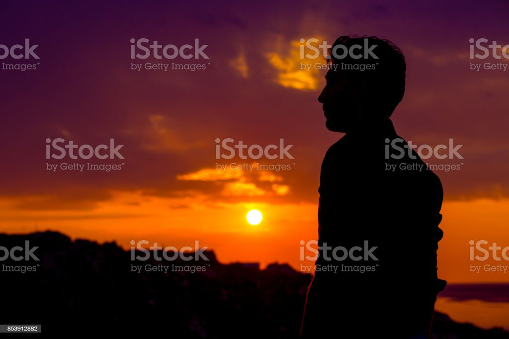 Man Standing Thinking Back Light Sunset Lighting Side View