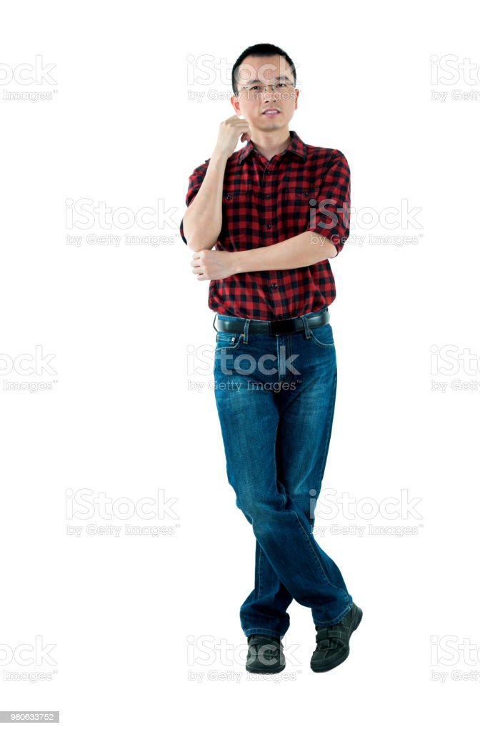 Man Standing With Hand On Chin Stock Photo More Pictures Of 30 39